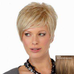 Spiffy Ultrashort Capless Trendy Assorted Color Inclined Bang Straight Women's Human Hair Wig -