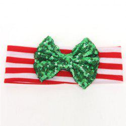 Chic Sequins Bow Embellished Stripe Pattern Christmas Hat For Girls -