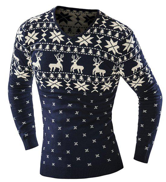 Hot Sale V-Neck Christmas Snowflake Fawn Intarsia Color Block Slimming Mens Long Sleeves SweaterMEN<br><br>Size: M; Color: CADETBLUE; Type: Pullovers; Material: Cotton Blends; Sleeve Length: Full; Collar: Turn-down Collar; Technics: Computer Knitted; Style: Fashion; Weight: 0.511KG; Package Contents: 1 x Sweater;
