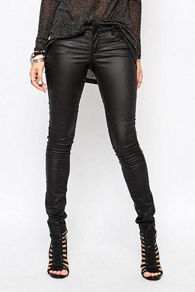 Unique Stylish Low Waisted Black Skinny Women's Pants
