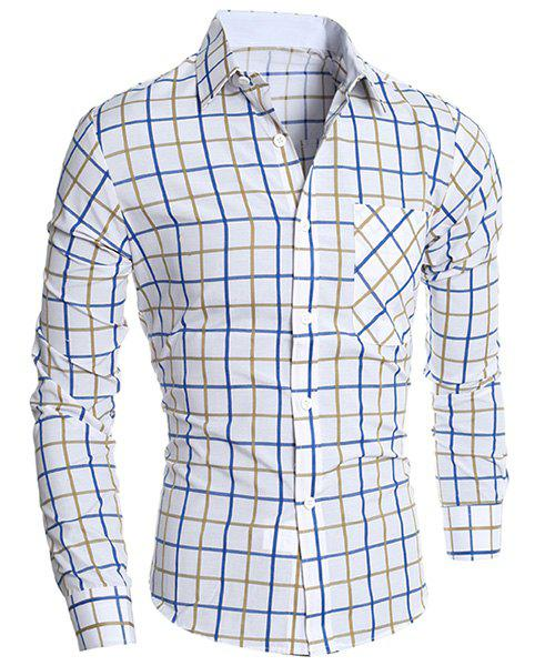Classic Color Block Exquisite Patch Pocket Shirt Collar Long Sleeves Mens Slimming Plaid ShirtMEN<br><br>Size: XL; Color: BLUE AND YELLOW; Shirts Type: Casual Shirts; Material: Cotton Blends; Sleeve Length: Full; Collar: Turn-down Collar; Weight: 0.235KG; Package Contents: 1 x Shirt;