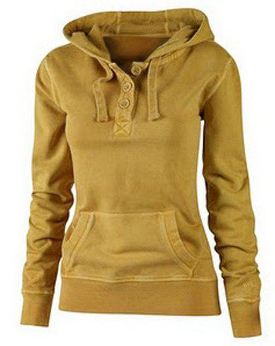Outfit Active Hooded Solid Color Buttoned Pocket Pullover Hoodie For Women 955cbc9b7e
