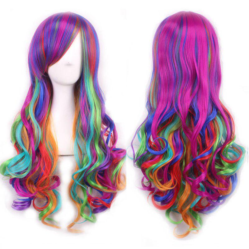 Harajuku Long Side Bang Fashion Colorful Ombre Shaggy Wavy Synthetic Cosplay Wig For Women