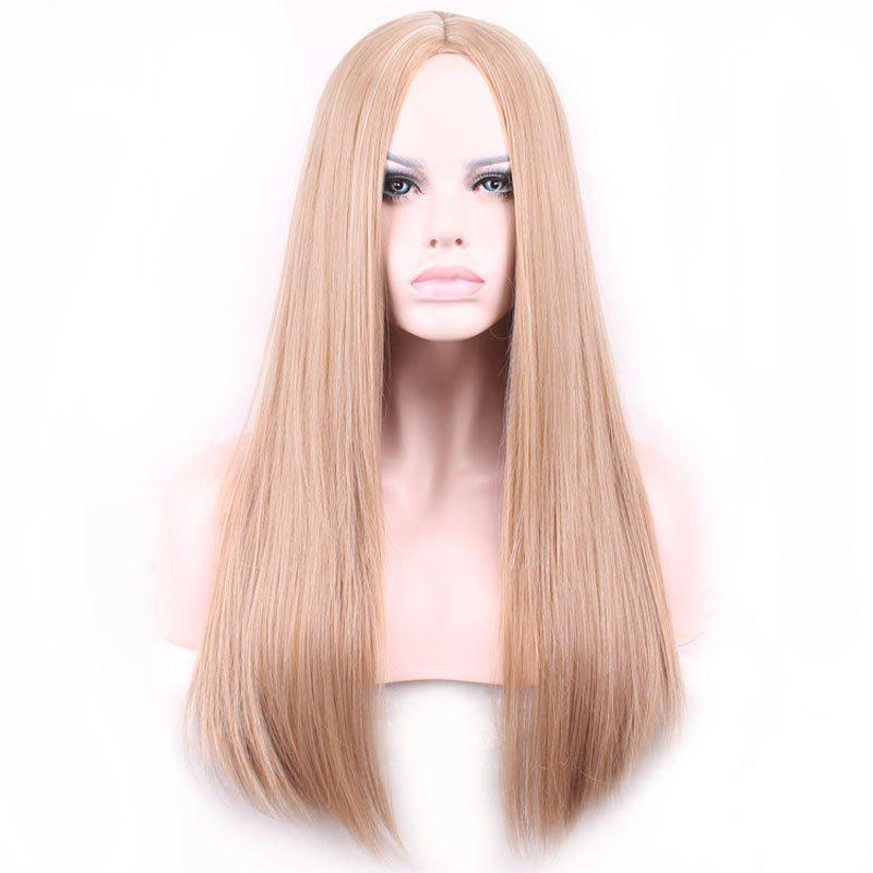 Charming Centre Parting Long Synthetic Silky Straight Capless Light Brown Wig For WomenHAIR<br><br>Color: LIGHT BROWN; Type: Full Wigs; Cap Construction: Capless; Style: Straight; Material: Synthetic Hair; Bang Type: None; Length: Long; Length Size(CM): 68; Weight: 0.28KG; Package Contents: 1 x Wig;