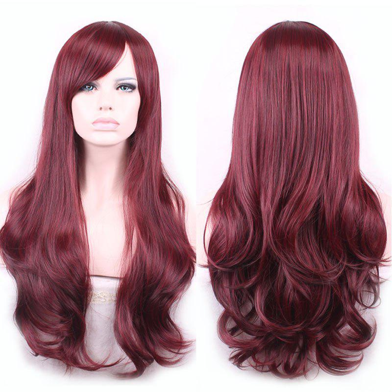 Glam Side Bang Long Capless Vogue Towheaded Wavy Heat Resistant Fiber Claret Womens WigHAIR<br><br>Color: WINE RED; Type: Full Wigs; Cap Construction: Capless; Style: Wavy; Material: Synthetic Hair; Bang Type: Side; Length: Long; Length Size(CM): 65; Weight: 0.270kg; Package Contents: 1 x Wig;