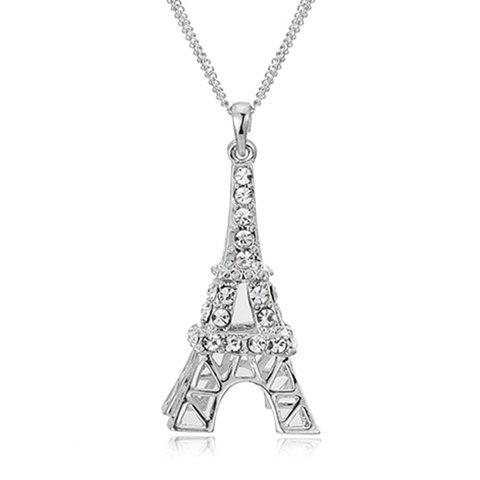 Romantic Rhinestoned Eiffel Tower Sweater Chain For WomenJEWELRY<br><br>Color: COOL WHITE LIGHT; Gender: For Women; Style: Romantic; Shape/Pattern: Geometric; Length: 65CM; Weight: 0.11KG; Package Contents: 1 x Sweater Chain;