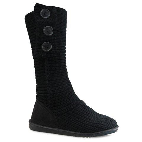 Affordable Stylish Knitting and Button Design Women's Snow Boots