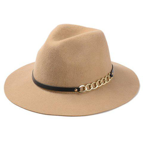 Fancy Chic Hollow Out Chain Strappy Embellished Felt Jazz Hat For Women