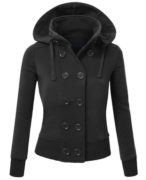 Latest Casual Hooded Black Buttoned Long Sleeve Hoodie For Women