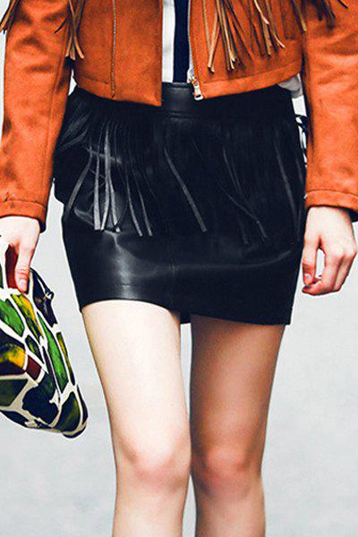 Fashion Chic Mid-Waisted Fringed Packet Buttocks Women's Faux Leather Skirt