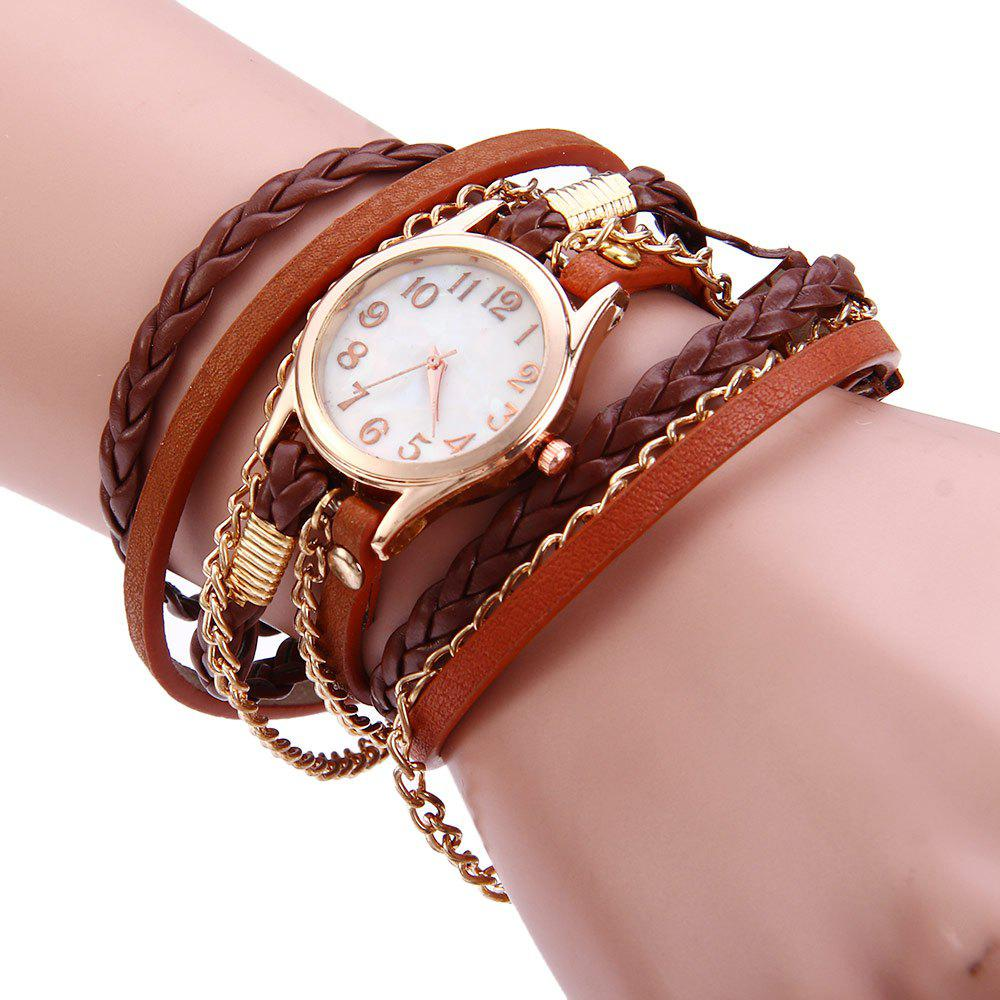 Charm Bracelet Watches: Brown Women Vintage Weave Wrap Leather Bracelet Wrist