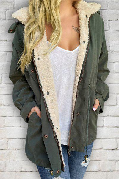 New Casual Convertible Hooded Thick Fleece Coat For Women