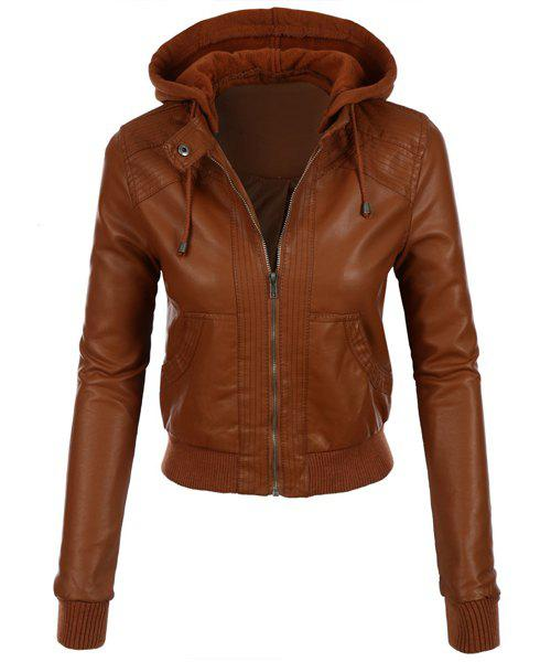 Trendy Stylish Hooded Long Sleeve Solid Color Faux Leather Spliced Women's Jacket