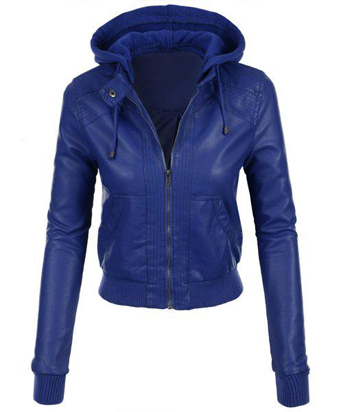 Fancy Stylish Hooded Long Sleeve Solid Color Faux Leather Spliced Women's Jacket