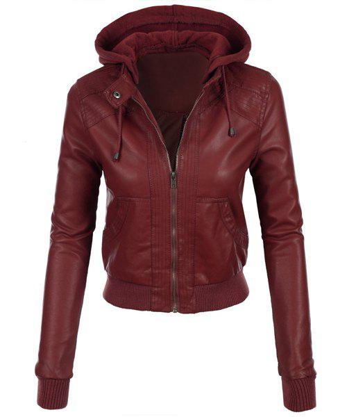 Fashion Stylish Hooded Long Sleeve Solid Color Faux Leather Spliced Women's Jacket