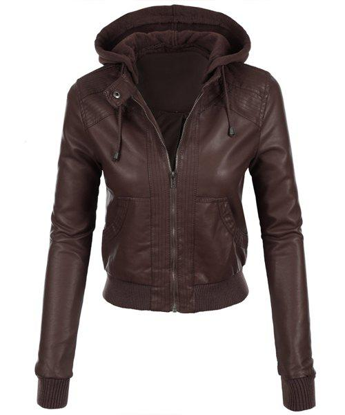 Store Stylish Hooded Long Sleeve Solid Color Faux Leather Spliced Women's Jacket