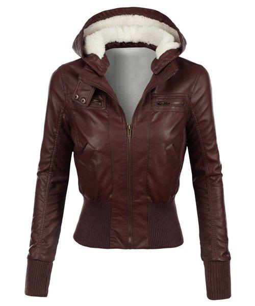 Cheap Stylish Hooded Long Sleeve Slimming Faux Leather Women's Jacket