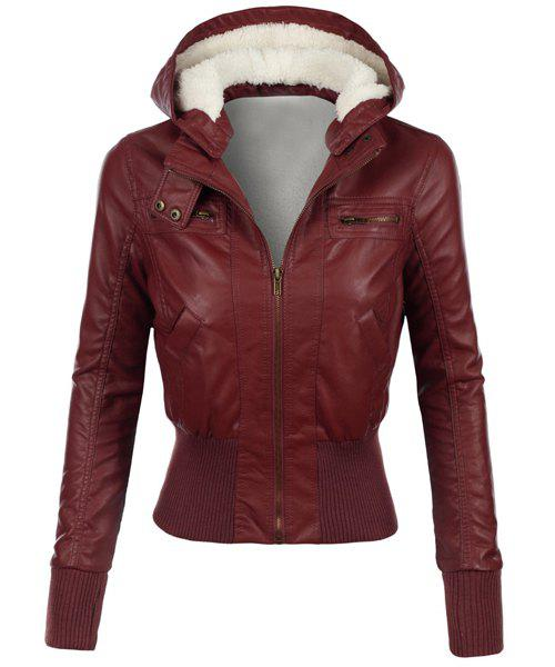 Chic Stylish Hooded Long Sleeve Slimming Faux Leather Women's Jacket
