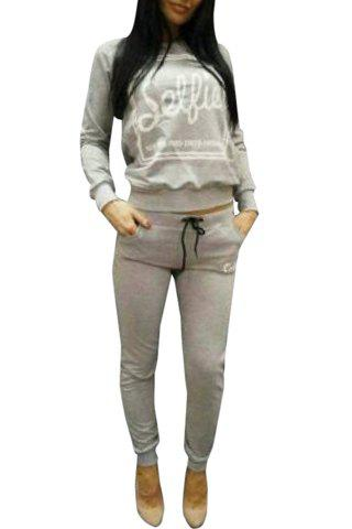 Latest Active Hooded Long Sleeve Letter Printed Hoodie and Sweat Pants Suit For Women