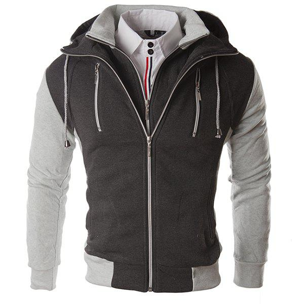 Faux Twinset Hoodie de Multi-Zipper Double Top Fly Couleur Spliced ​​Drawstring capuche manches longues hommes