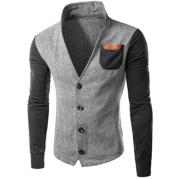 Cheap PU-Leather Spliced Patch Pocket Zig-Zag Pattern Hit Color Stand Collar Long Sleeves Men's Slimming Jacket