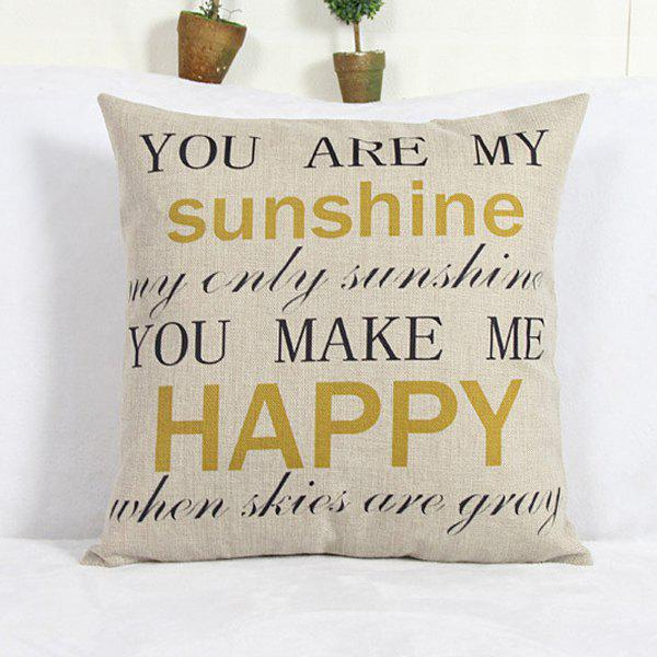 Shop Modern Square Letter Pattern Linen Decorative Pillowcase (Without Pillow Inner)