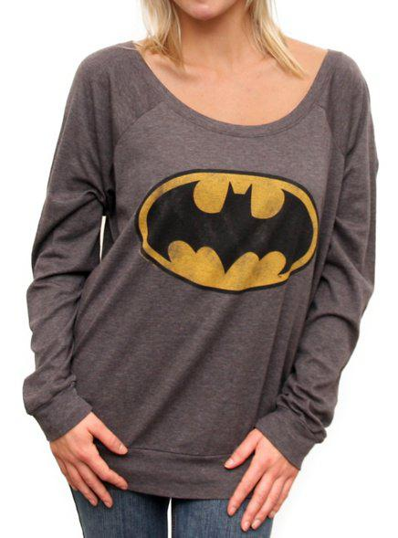 Online Cute Scoop Neck Batman Printed Pullover Sweatshirt For Women