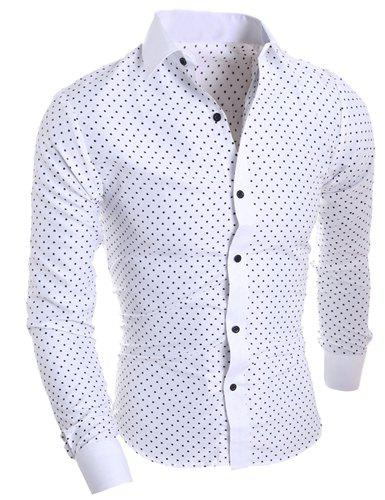 Classical Turn-Down Collar Long Sleeve Slimming Stars Print Mens Shirt