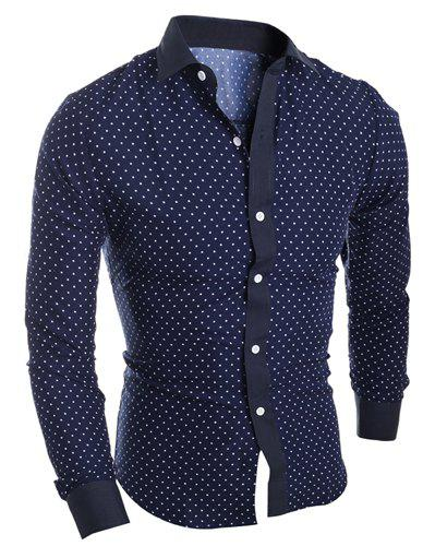 Affordable Classical Turn-Down Collar Long Sleeve Slimming Stars Print Men's Shirt