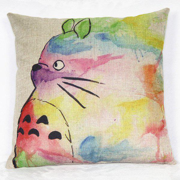 Fancy Classical Cat Pattern Linen Decorative Pillowcase(Without Pillow Inner)