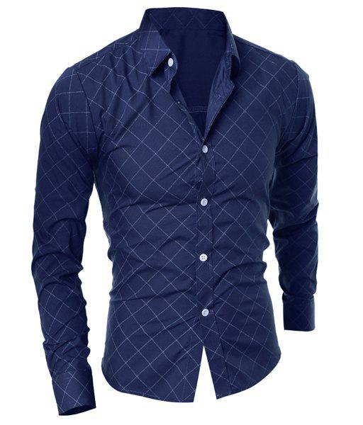 Cheap Classical Turn-Down Collar Long Sleeve Slimming Argyle Print Men's Shirt
