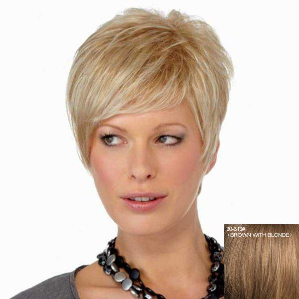 Shop Spiffy Ultrashort Capless Trendy Assorted Color Inclined Bang Straight Women's Human Hair Wig