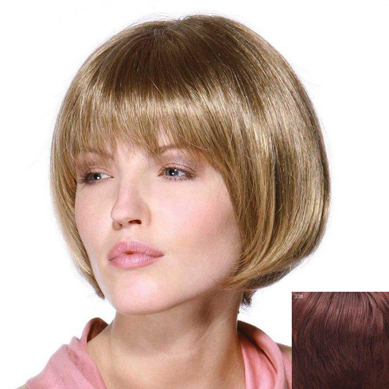 Trendy Stunning Full Bang Capless Stylish Bob Style Short Straight Real Human Hair Wig For Women