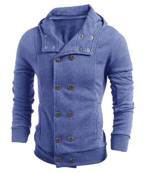 Chic Turn-Down Collar Double-Breasted Long Sleeve Thicken Men's Jacket