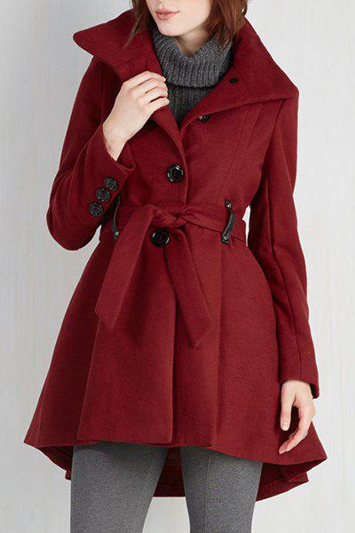 Hot Noble Solid Color Turn-Down Collar Belt Design Wool Coat For Women