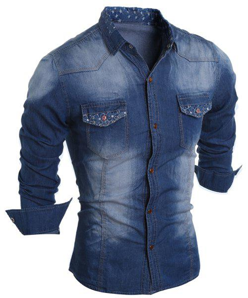 Store Turn-Down Collar Star Pattern Lining Long Sleeve Printed Button Men's Chambray Shirt