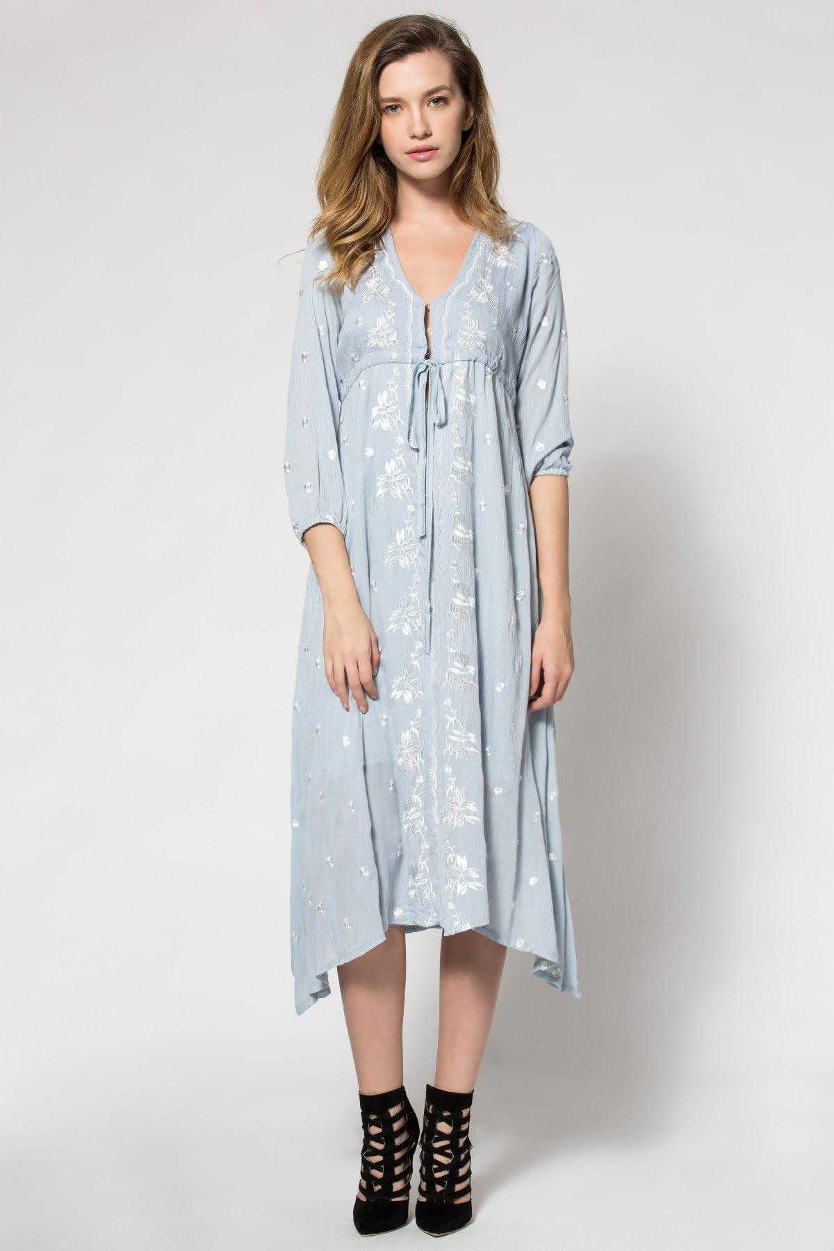Ladies Fashionable V-Neck Tiny Floral Embroidery Tie-Up 3/4 Sleeve Dress For Women