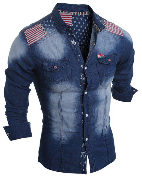Shop Bleach Wash American Flag Print Long Sleeve Denim Shirt