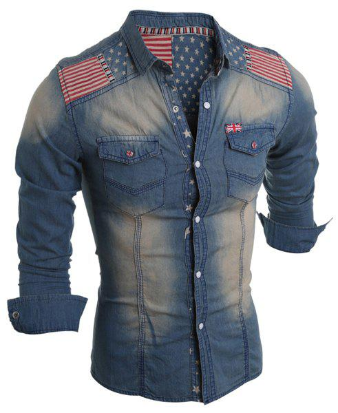 Fancy Bleach Wash American Flag Print Long Sleeve Denim Shirt