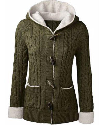 Store Chic Long Sleeve Solid Color Hooded Cardigan For Women