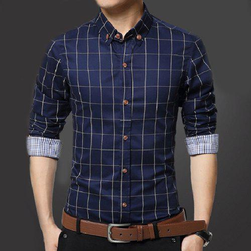 17339a5da3b8 Fancy Turn-Down Collar Slimming Long Sleeve Checked Men s Button-Down Shirt