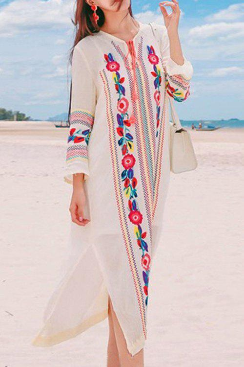 Outfit Bohemian V-Neck Long Sleeve Embroidered Side Slit Women's Midi Dress