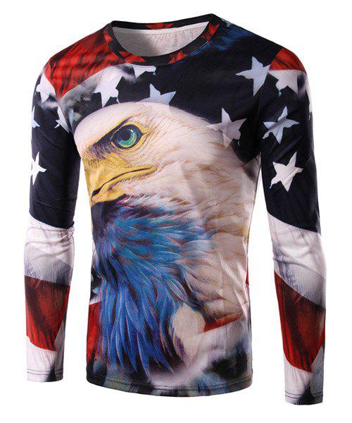 Round Neck 3D Bald Eagle and Flag Print Long Sleeve Mens T-ShirtMEN<br><br>Size: 2XL; Color: COLORMIX; Style: Fashion; Material: Cotton,Polyester; Sleeve Length: Full; Collar: Round Neck; Pattern Type: Animal; Weight: 0.220KG; Package Contents: 1 x T-Shirt;