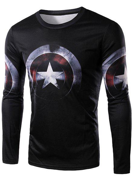 3D Captain America Shield Print Character T-ShirtMEN<br><br>Size: 2XL; Color: BLACK; Material: Cotton,Polyester; Sleeve Length: Full; Collar: Round Neck; Style: Fashion; Weight: 0.290KG; Package Contents: 1 x T-Shirt; Pattern Type: Character;
