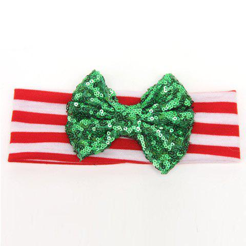 Online Chic Sequins Bow Embellished Stripe Pattern Christmas Hat For Girls