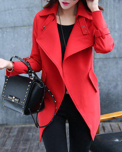 Latest Elegant Turn-Down Collar Candy Color Long Sleeve Coat For Women