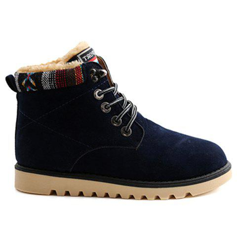 Unique Ethnic Style Plush and Lace-Up Design Men's Snow Boots