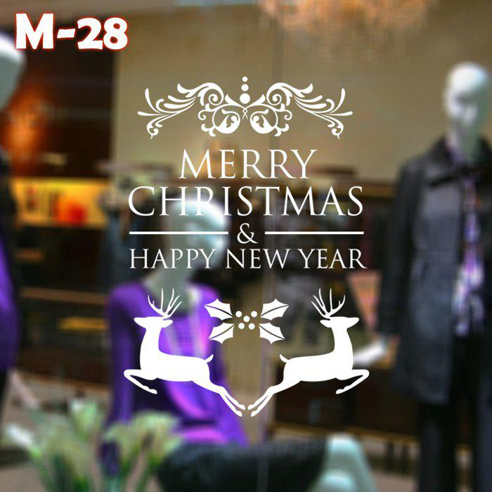 Chic M-28 Small Deer and Merry Christmas Style Removable Wall Stickers for Party Ornament