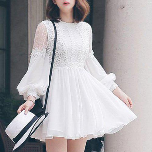 Outfits Ladylike Round Collar Long Sleeve White See-Through Chiffon Spliced Women's Dress