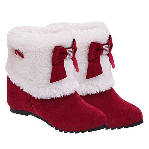 Wedge Heel Furry Snow BootsSHOES &amp; BAGS<br><br>Size: 35; Color: RED; Gender: For Women; Boot Type: Snow Boots; Boot Height: Ankle; Toe Shape: Round Toe; Heel Type: Increased Internal; Heel Height Range: Med(1.75-2.75); Closure Type: Slip-On; Shoe Width: Medium(B/M); Pattern Type: Solid; Embellishment: Bow; Upper Material: Suede; Lining Material: Plush; Weight: 0.550kg; Season: Winter; Platform Height: 0.5CM; Heel Height: 6.5CM; Package Contents: 1 x Boots (pair);